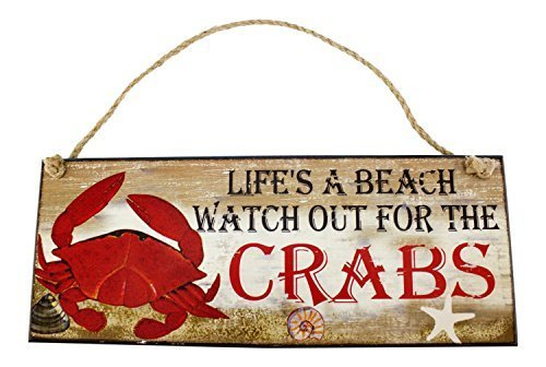 Life Is A Beach Watch For Crabs Wood Wall Plaque 12 Inches