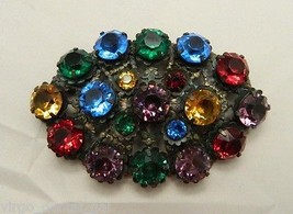 VTG Large Multi Color Glass Rhinestone Brooch - TLC Needed Missing Pin M... - $49.50