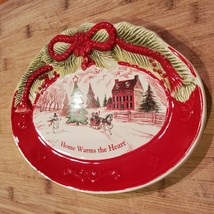 Vintage Christmas Dish, Holiday Fitz & Floyd Sentiment Tray Home Warms the Heart image 3