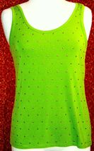 ETOILE green 2 piece stretch rayon tank blouse & sweater jacket M (T47-02I8G) image 7