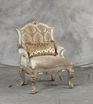 Luxury Chenille Silver Gold Finish Accent Chair Sp Order Benetti's Ornella - $1,412.10