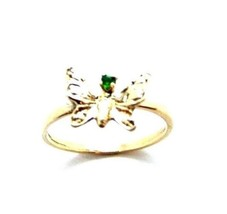 10K YELLOW GOLD BUTTERFLY LADIES RING WITH GREEN STONE - $69.99