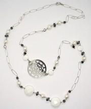 Collier Long 1 MT en Argent 925 avec Hématite Agate et Perles Fabriqué e... - $182.83