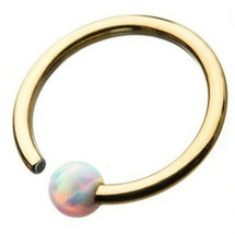 """Captive Nose Daith Ear Annealed Ring 18 Gauge 5/16"""" w/Fixed 3mm Opal Gold Plate - $7.99"""