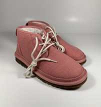 UGG Neumel Natural Canvas Ankle Chukka Boots Pink Women's Sz 8 *NEW* 111... - $123.03