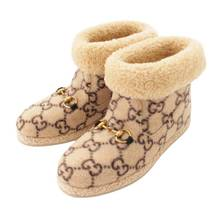 Gucci Horsebit Mouton Short Boots GG Pattern Ivory Size 38 Used Grade S - $1,174.00