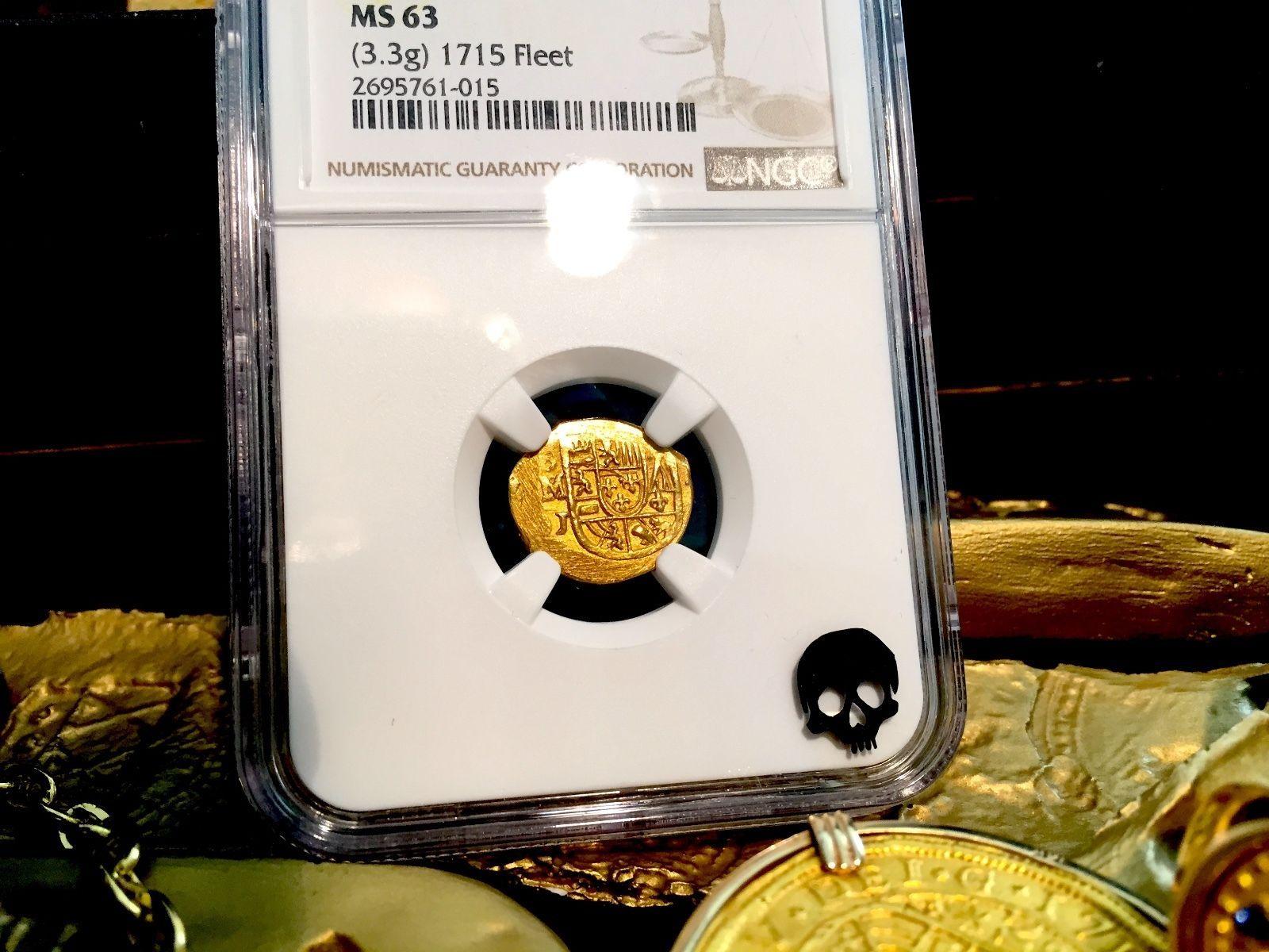 """MEXICO 1 ESCUDO 1705-13 """"1715 PLATE FLEET SHIPWRECK"""" NGC 63 GOLD DOUBLOON"""