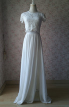 Split Maxi Chiffon Skirt Blue Gray White Wedding Chiffon Skirt Bridesmaid Outfit image 9