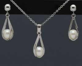 Vintage White Gold-Filled Caged Pearl Pendant Necklace and Dangle Earrin... - $12.99