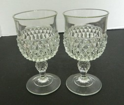 Indiana Glass Diamond Point Wine Glasses Goblets Crystal Clear Vintage - $14.84