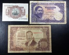 SPAIN: 1953 1 & 100 Pesetas, 1954 25 Pesetas P-144 145 147 ◢ FREE COMBIN... - $7.21