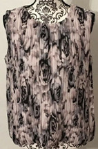 Calvin Klein Sleeveless Bubble Hem Top Size Medium Pink Gray Black Flora... - $29.95