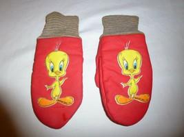 Vintage 1960s or 1970s Loony Tunes Tweety Bird Child Mittens -- Red & Ye... - $14.95