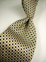 ROBERT TALBOTT Cream Gold/Blk DIAMONDS  Mens 100 SILK Necktie   8 1221 - $18.99
