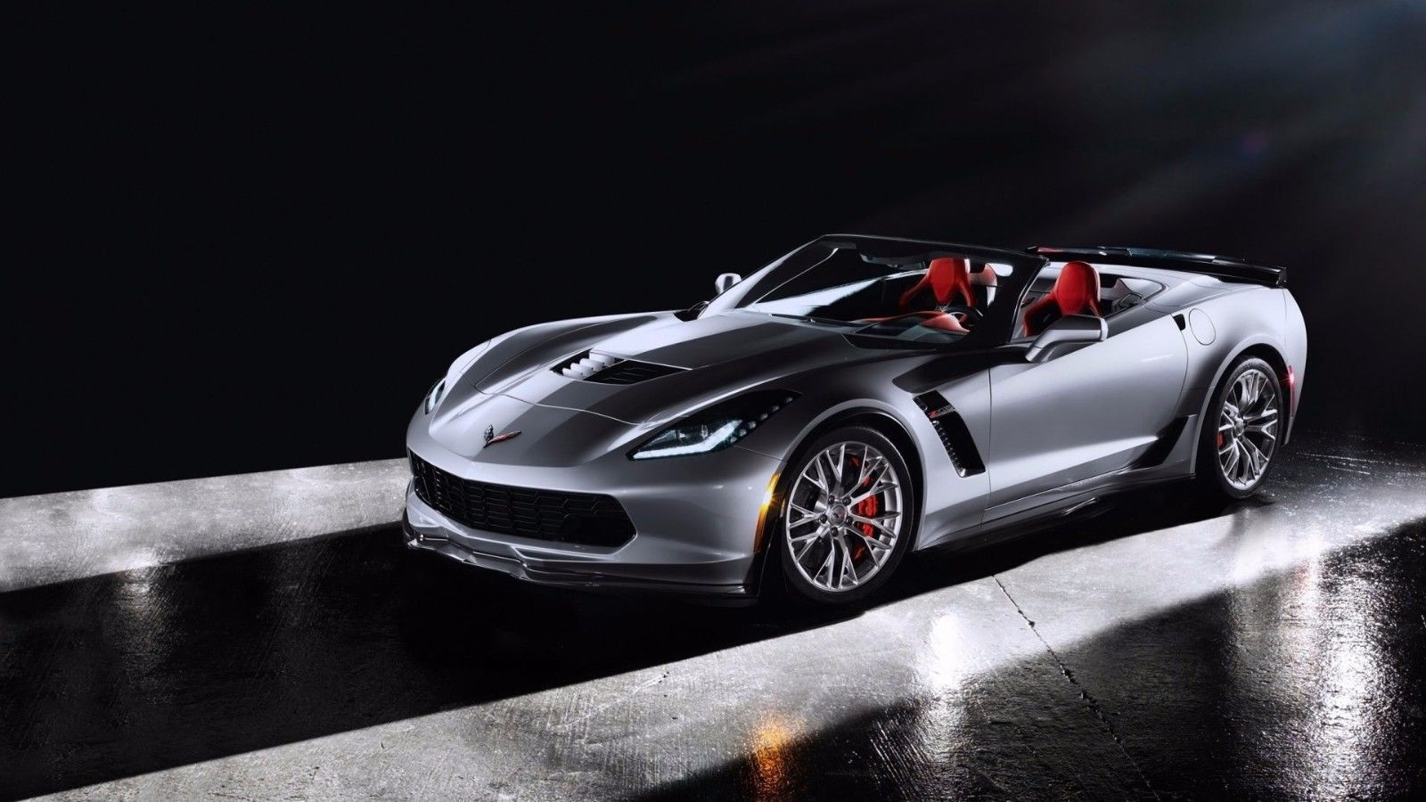 Primary image for 2016 Chevrolet Corvette Sting 24X36 inch poster, silver, sports car,