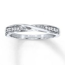 14k White Gold Plated 925 Sterling Silver Round Cut Diamond Engagement Band Ring - $54.99