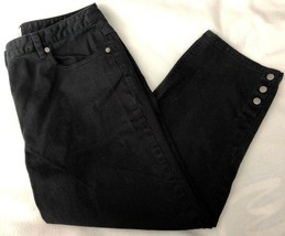 Talbots Womens Cropped Capri Denim Jeans 10 Black Cotton Stretch - $19.34