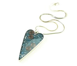 Orgone Energy Long Heart Pendant in Antique Silver Finish with Lapis - $52.54