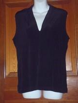 Chicos Travelers Deep V Shirt Size 3 Slinky Black Sleeveless Womens 16-18 - $23.19