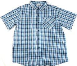 Medium Columbia Men's Shirt Endless Trail Short Sleeve Button-down Aqua Marine