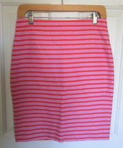 J CREW 0 The Pencil Skirt Pink Orange Stripe Basketweave Lined Cotton Skirt - $21.47