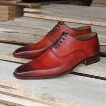 Handmade Men's Burgundy Burnished Leather Brogues Lace Up Dress Oxford Shoes image 3