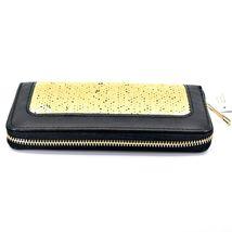 Bijorca Faux Leather Black & Gold Sequin Zip Around Clutch Wallet image 4