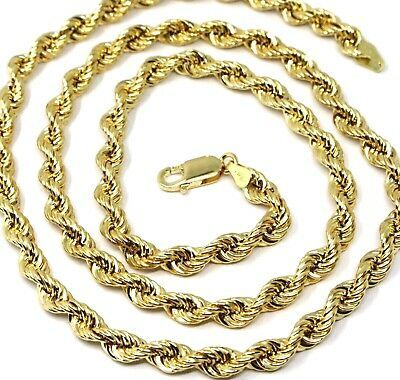 """18K YELLOW GOLD CHAIN NECKLACE 7 MM BIG BRAID ROPE LINK, 19.70"""", MADE IN ITALY"""