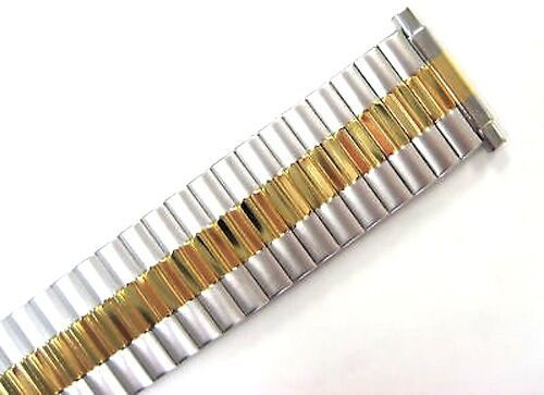 Primary image for 18-22MM SHORT TWO TONE STAINLESS TWIST O FLEX EXPANSION WATCH BAND STRAP