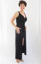 Black Twist Maxi Dress with Slit, Black Layered Maxi Dress, V Neck, Formal