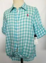 Ralph Lauren Girls Shirt Long /Short Sleeve Blue White Checker Size 8 NWT - $34.99