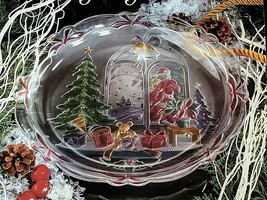 "Crystal Clear Studios Vintage 1992 Christmas Joy Glass Platter 14"" Style... - $21.95"