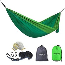 BADIQI Camping Hammock, Double and Single Portable Nylon Parachute (Green) - $30.57