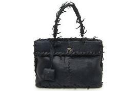 Auth BOTTEGA VENETA Lizard Fuzzy Navy Handbag 277082 free shipping from ... - $1,516.68