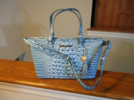 Brahmin Mini Asher Shoulder Bag Embossed Croco Leather Cerulean Melbourn... - $183.14