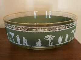 Wedgwood Jasperware Helenic Jeanette Glass Salad Fruit Bowl Hollywood Regency - $17.99