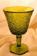 Smith Glass Daisy And Button Green Water Goblet Circa 1941 - $20.69
