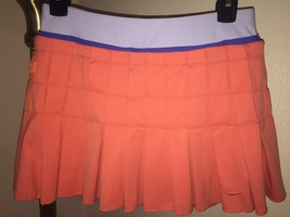 Nike Dri-Fit Pleated Tennis Skort/Skirt Sz Small Pretty Coral & Periwinkle - $34.64