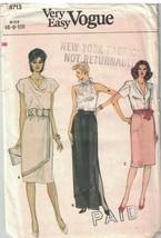 8713 sin Cortar Vogue Patrón de Costura Misses Recto Falda Noche Largo O... - $4.88
