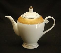 """Alpine Cuisine 6"""" Footed Tea Pot w Gold Geometric Designs Fine Porcelain... - $59.39"""