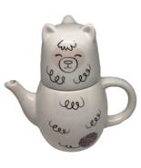 Alpaca Tea Pot Cup Lid Set Yarnology Yarn Stackable Decor White Teapot 3... - $16.82