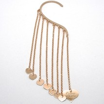 Single Earring Silver 925 Laminated Pink Gold in le Fairytale Fringe and Hearts image 1