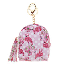 Leather Coin Purse Flamingo Keychain Charms Mini Backpack Shape - $9.50