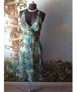 Connected Petite Women Green Floral Halter Dress Size 10P - $29.69