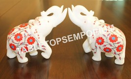 "5"" White Marble Elephant Inlay Statue Hakik Inlay Floral Art Hallway Dec... - $238.11"