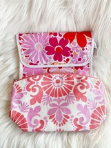 Clinique Lot Of Two: Floral Print Pink Red Medium Makeup Cosmetic Bags Pouch New - $12.59