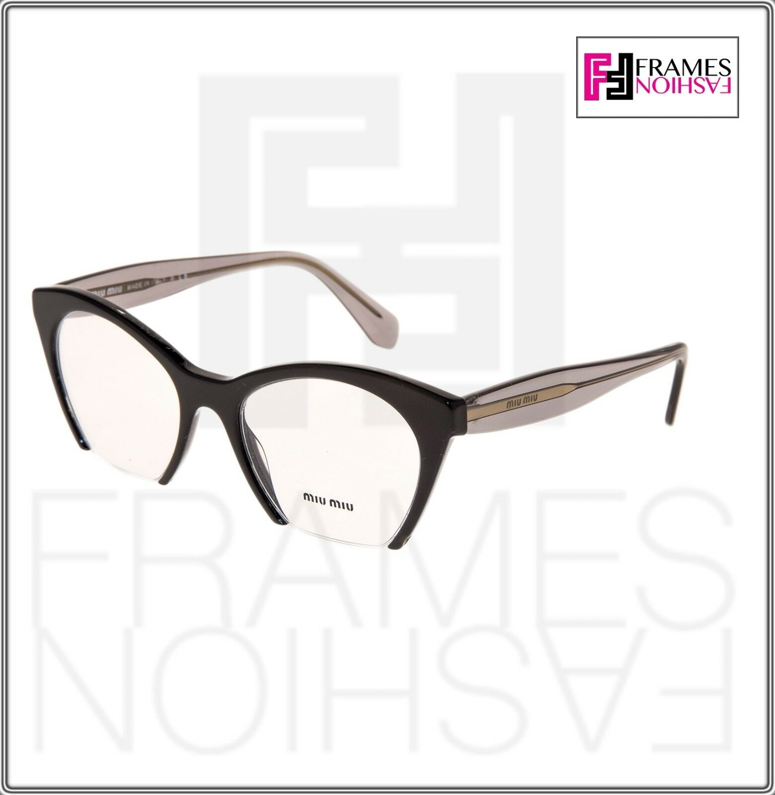 MIU MIU RASOIR MU03QV Eyeglasses Optical Frame Black Grey Translucent 51mm 03Q image 7
