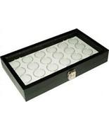 24 Coin Holder Case Black Storage display showcase Box Gem Jar White Jar... - $36.85