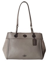 NWT COACH TURNLOCK EDIE MIXED LEATHER CARRYALL SATCHEL HEATHER GREY - $230.27