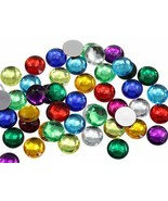 Assorted Colors Flat Back Acrylic Round Gems 4 Size Rhinestones Craft 57... - $18.97